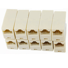 10pcs/lot  Network Ethernet Lan Cable Joiner 8 Pins Coupler Connector Tool RJ45 Computer Connection Adapters