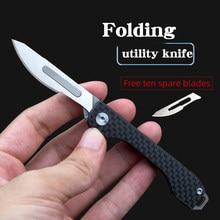 Karbon fiber katlanır çakı taktik bıçak keskin bıçak Carry-on açık Survival kamp acil durum araçları açma kağıt kesme