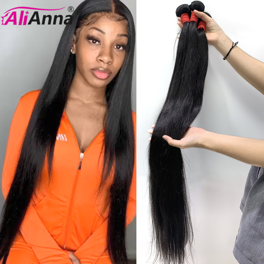 32 34 36 38 40 Polegada pacotes de cabelo reto sliky alianna feixes de cabelo humano 30 Polegada pacotes retos tecer cabelo brasileiro pacotes