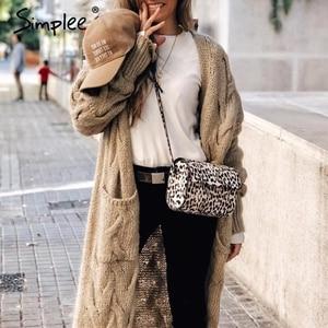 Image 2 - Simplee Winter mohair long cardigan knitted sweater women Long sleeve female jumper cardigan Casual streetwear pull femme 2019
