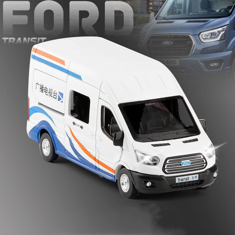 Hot Sale 1:35 Ford Transit Business Car Model,simulation Die-casting Sound And Light Back To The Alloy Car Model,free Shipping