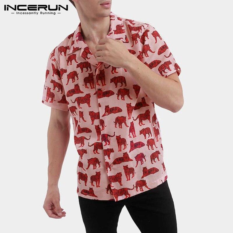 INCERUN 2020 Summer Printed Mens Hawaiian Casual Shirt Lapel Breathable Streetwear Short Sleeve Tops Casual Camisas Hombre S-5XL