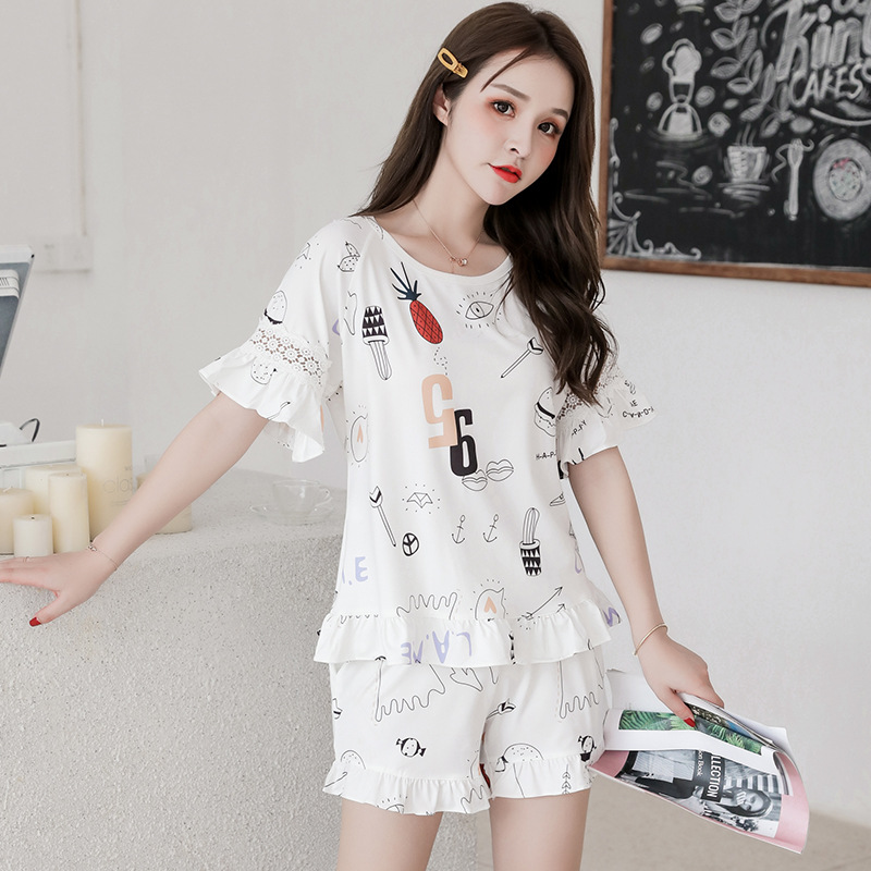 1205 # Korean-style Pajamas Women's Summer Short-sleeved Qmilch Women's-Outer Wear Tracksuit Two-Piece Set M -Xxl