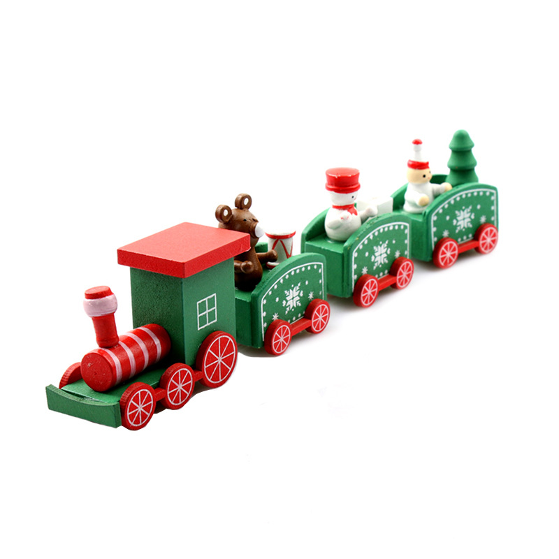 DROPSHIPPING Christmas Wooden Train Toys For Children Painted Christmas Decoration Home Santa/bear Xmas Gift Toys For Kid