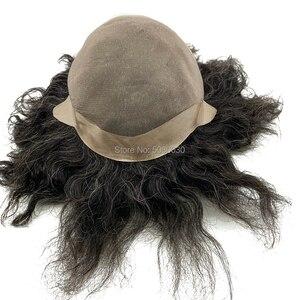 Image 5 - Parrucca di capelli maschile su misura big cap toupee dei capelli umani mono merletto di base delle donne parrucca