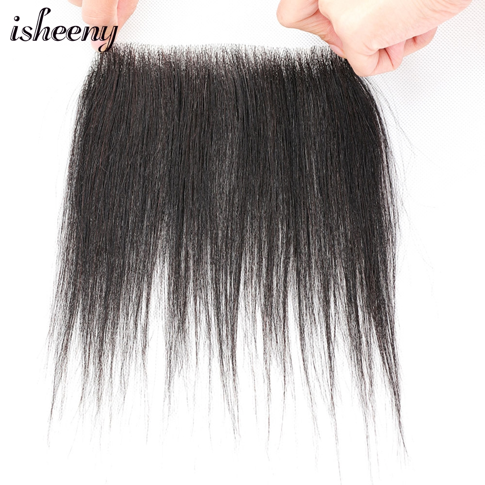 """Isheeny Remy Human Hair Replacement System Toupee 2*16 M Style Forehead Toupee Wig 8"""" Short Hair With Lace Natural Hand Made"""