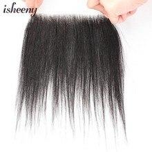 Isheeny-Peluca de cabello humano Remy, tupé de estilo de 2x16 M, pelo corto de 8 pulgadas con encaje Natural hecho a mano