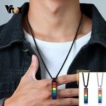 Vnox Stilvolle Regenbogen Vertikale Bar Anhänger Halsketten für Männer Frauen LGBT Lesben Männlich Unisex Schmuck 24