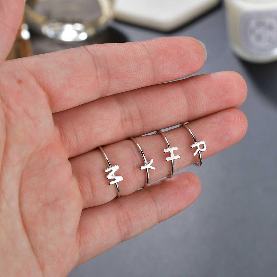 صغيرة رومانسية إلكتروني A-Z الفولاذ المقاوم للصدأ قابل للتعديل خواتم الاصبع للنساء الشظية اللون لطيف كوريا Anneau لهدايا عيد الميلاد