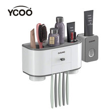 YCOO portaspazzolino Dispenser automatico di dentifricio spremiagrumi a parete salvaspazio organizzatore di spazzolini con Cov antipolvere