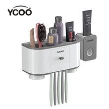 Ycoo Tandenborstelhouder Automatische Tandpasta Dispenser Squeezer Wall Mounted Space Saving Tandenborstel Organizer Met Stofdicht Cov