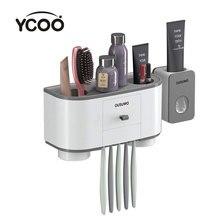 Ycoo escova de dentes titular automático dispensador de dentes squeezer fixado na parede espaço economia organizador com dustproof cov