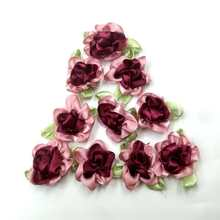 40pcs wine color ribbon flowers with leaf handmade apparel sewing appliques DIY accessories A573