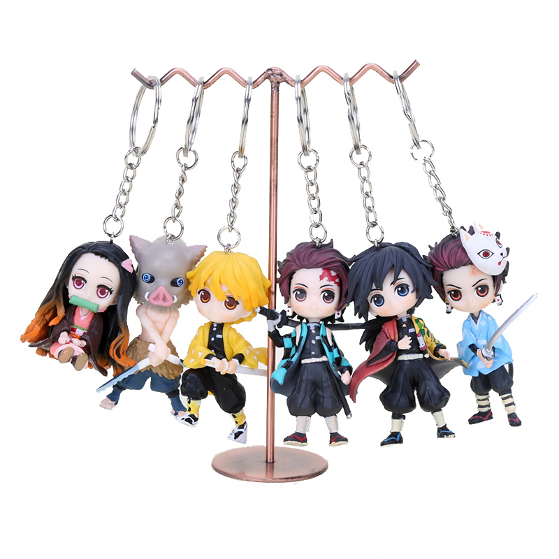 6pcs/set Demon Slayer:Kimetsu No Yaiba Tanjirou Keychain Cosplay Anime Pendant Keyring Key Chains