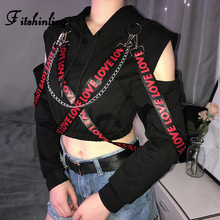 Fitshinling Open Shoulder Chain Belt Hoodies Harajuku Black Sweatshirt Women's With A Hood Autumn Winter Street Poleron Mujer plus open shoulder sweatshirt