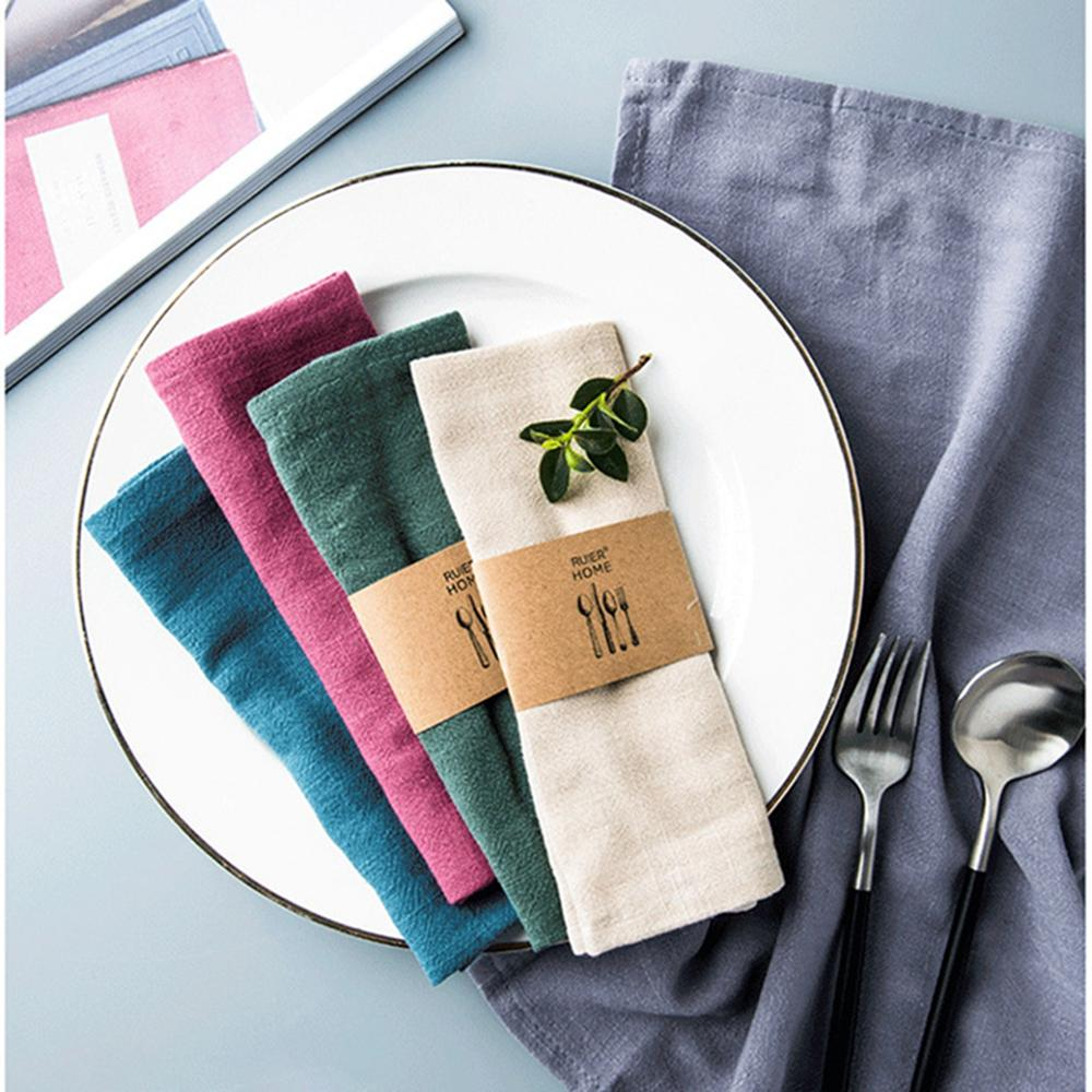 Cotton Linen Cloth Table Napkin Polyester Handkerchief Diner Party Cup Dishes Placemat Table Decoration Mats Kitchen Supplies