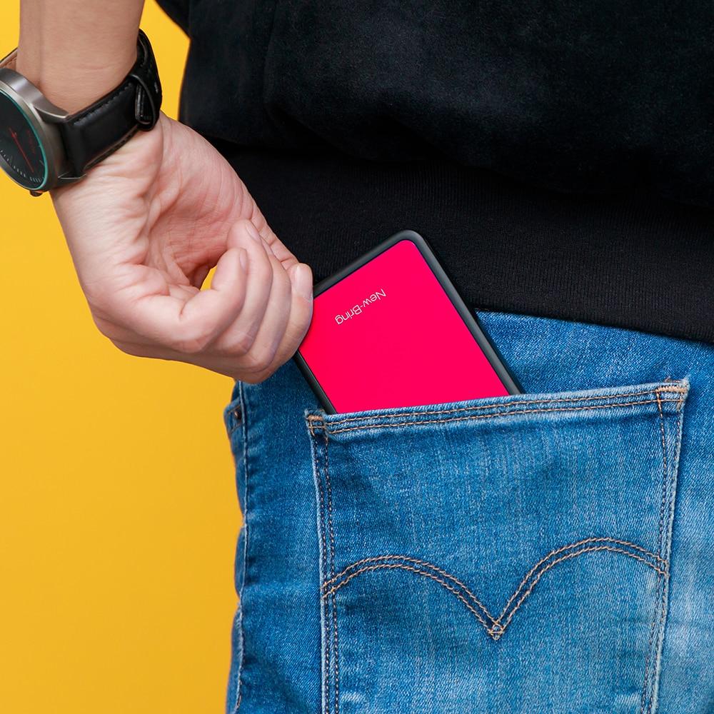 NewBring RFID Blocking  Sliding Wallet Card Holder Plastic Card Money Purse Carbon Fiber For Men Women M Ale Female