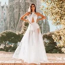 Party-Dress Evening-Skirt Cross-Strap Lace Long White Sleeveless New Stitching Navel