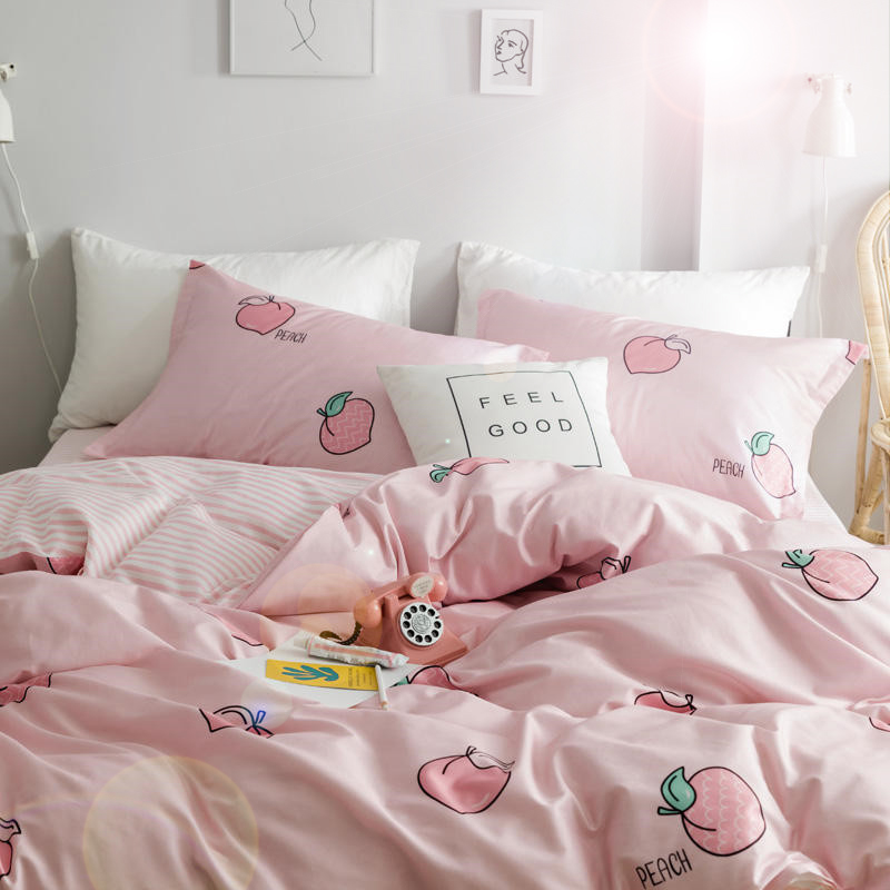 Fashion 4Pcs/Set Sweet Peach Theme Comfortable Cotton Bedding Set Bed Comforter For Women Kawaii Girl Duvet Cover Bed Sheet Sets