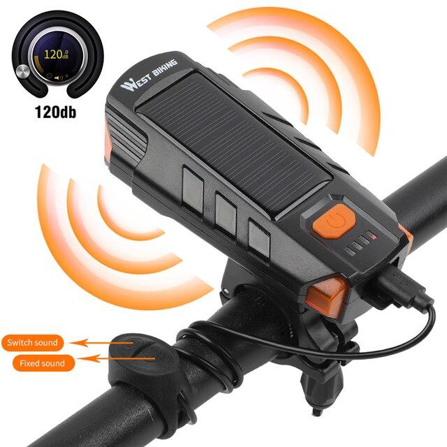 Светодиодный водонепроницаемый велофонарь с зарядкой через USB, 120 дБ Предупреждение WEST BIKING, 2000 мАч 5