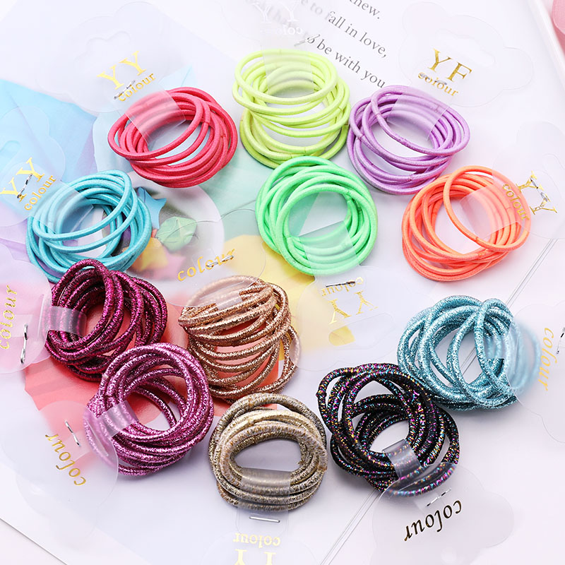 10pcs/Set Girls Colorful Basic Small Ring Elastic Hair Bands Children Ponytail Holder Tie Gum Rubber Bands Kids Hair Accessories