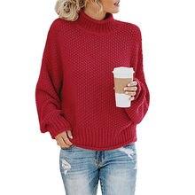 Пуловер с высоким воротником новый стиль для осени и зимы вязаный