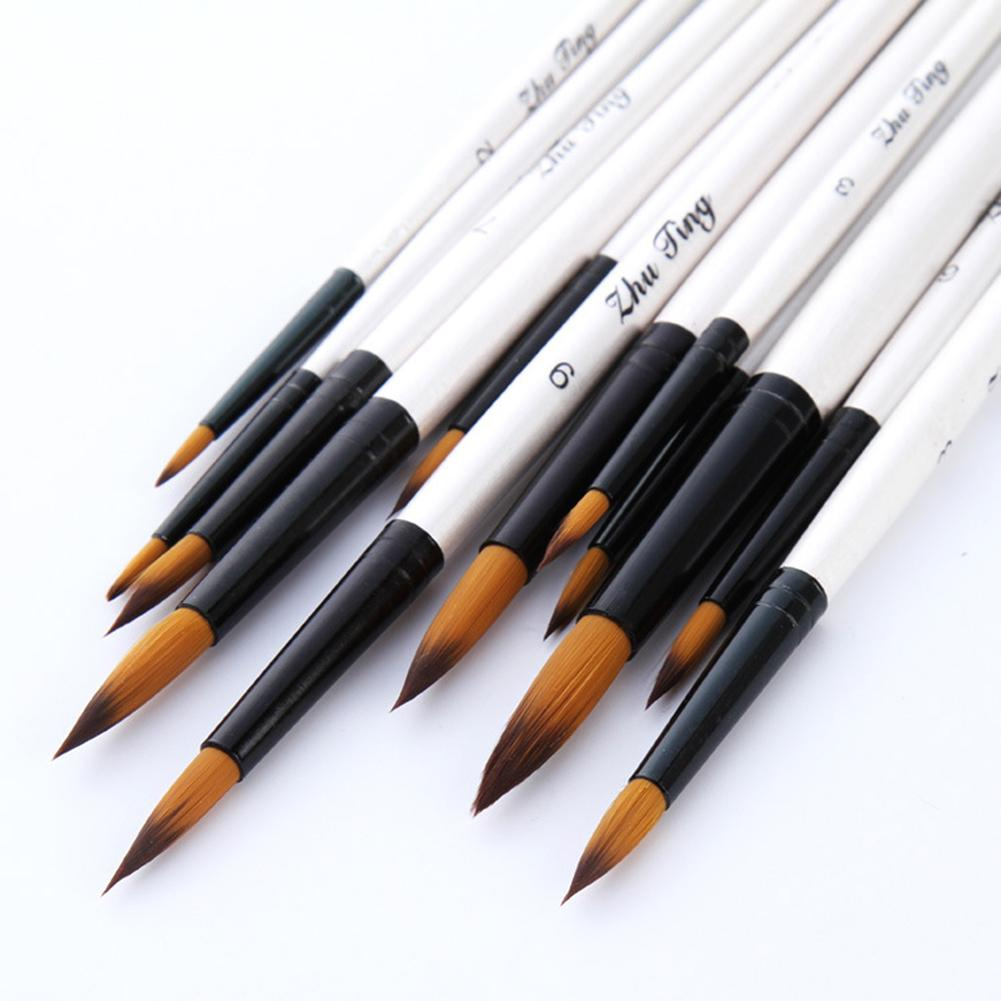 12Pcs/Set Wooden Nylon Acrylic Artist Paint Brushes For Acrylic Watercolor Oil Painting Supplies Art Craft Kit