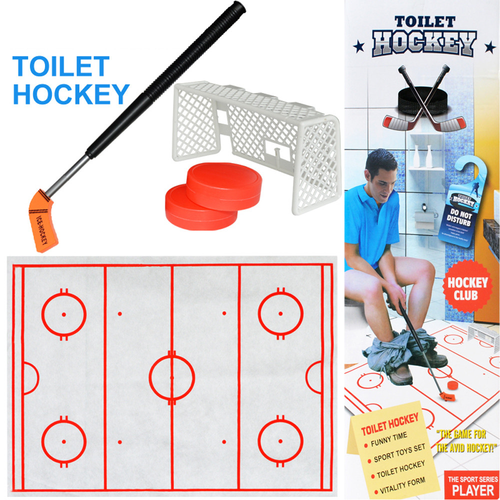 Simulation Toilet Actual Toilet Toy Hockey Game Toilet Hockey Game Decompression Fun Game Ice-hockey Toy For Children Gift L0218