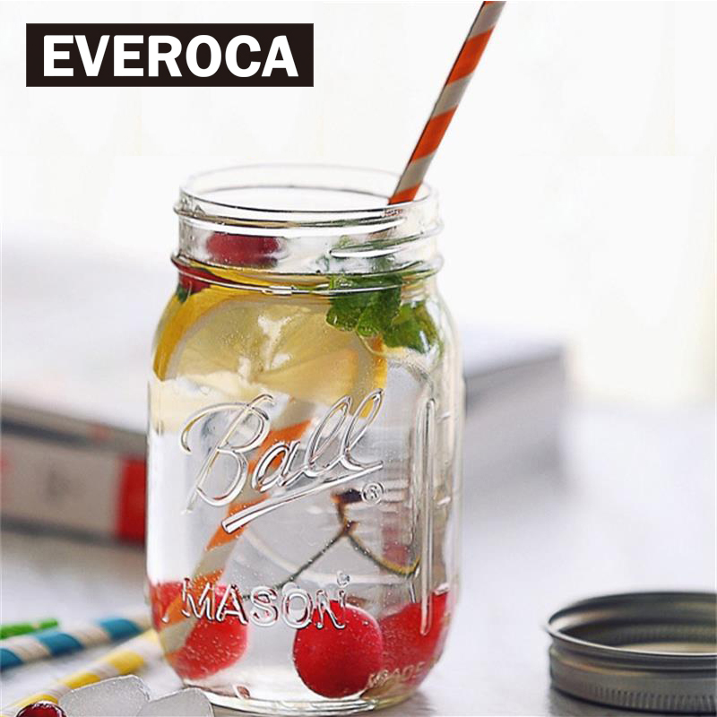 Mason Jar With Lids Glass Bottle Ice Cream Fruit Installed Cold Drink Infusion Water Bottles Stainless Steel Straw Storage