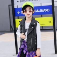 Детский кожаный жилет коллекция года, осенний Черный крутой кожаный жилет для девочек осенние детские Куртки из искусственной кожи без рукавов уличная одежда для детей возрастом от 2 до 8 лет