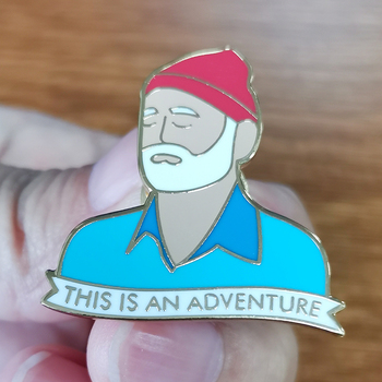 Bill Murray Booch Adventure enamel pin Steve Zissou Badge Life Aquatic hard enamel decor image