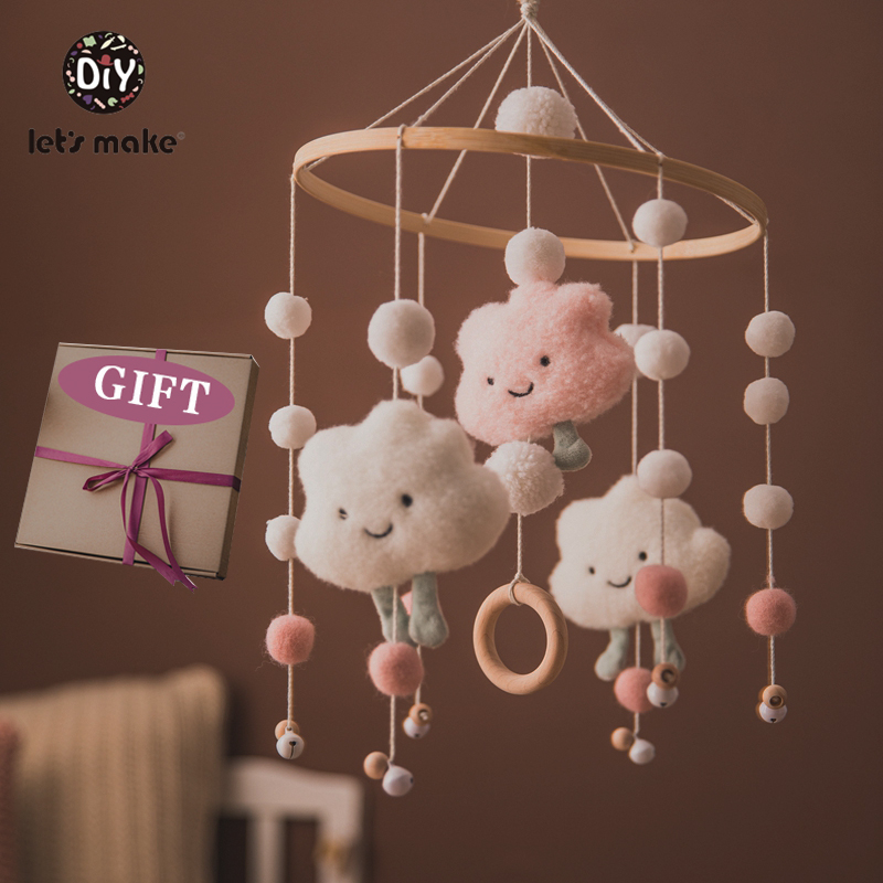 Let's Make Dropshipping Baby Rattles Crib Mobiles Toy Bed Bell Musical Box 0-12month Cloud Cotton Carousel For Cots Projection