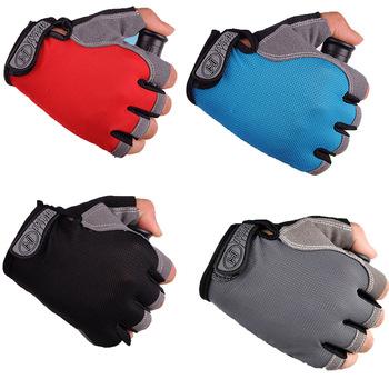 Rękawice rowerowe rękawice rowerowe rękawice rowerowe Anti Slip Shock oddychające pół palca krótkie rękawiczki sportowe akcesoria dla kobiet mężczyzn tanie i dobre opinie NoEnName_Null Lycra LMD078 Zmywalna