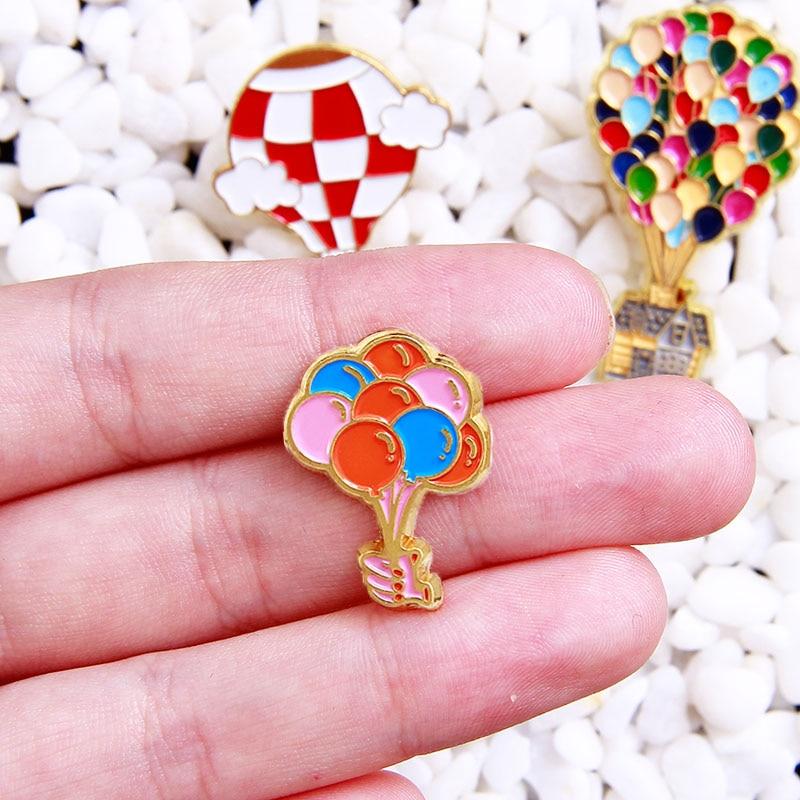 Colourful Balloon Pins Cartoon Movie Up Enamel Pin Hot Air Balloon Brooch Badges Lapel Pins Jewelry