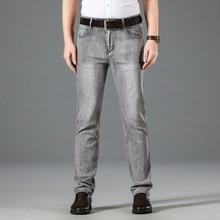 2020 Недавно Мода Мужские Джинсы Серого Цвета Прямые Fit Свободного Покроя Бизнес Длинные Брюки Старинные Дизайнер Классический Эластичный