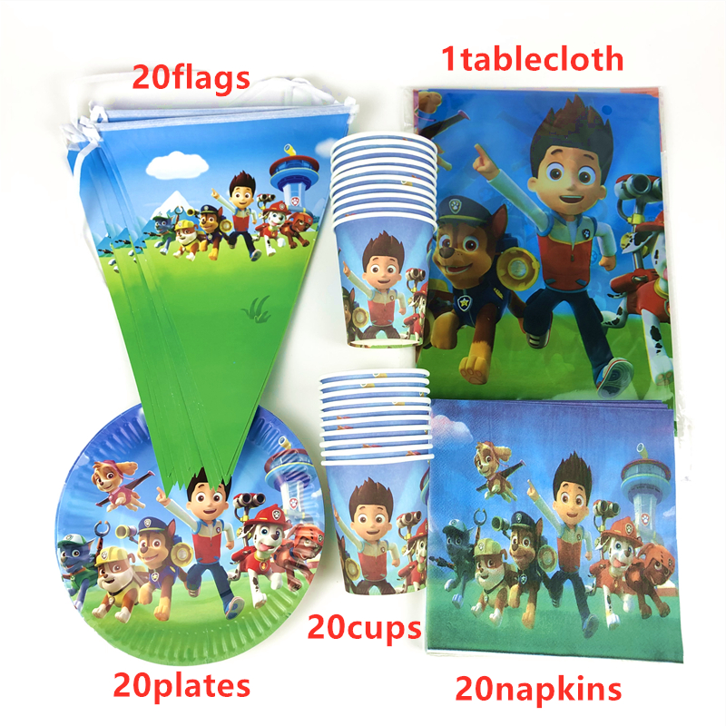 Paw Patrol Plate Flag Cup plates Party Tableware Birthday Decorations Supplies