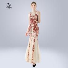 Skyyue Evening Dress Sleeveless Sequin Robe De Soiree Zipper Women Party Dresses V-neck Split Formal Gowns 2019 C273