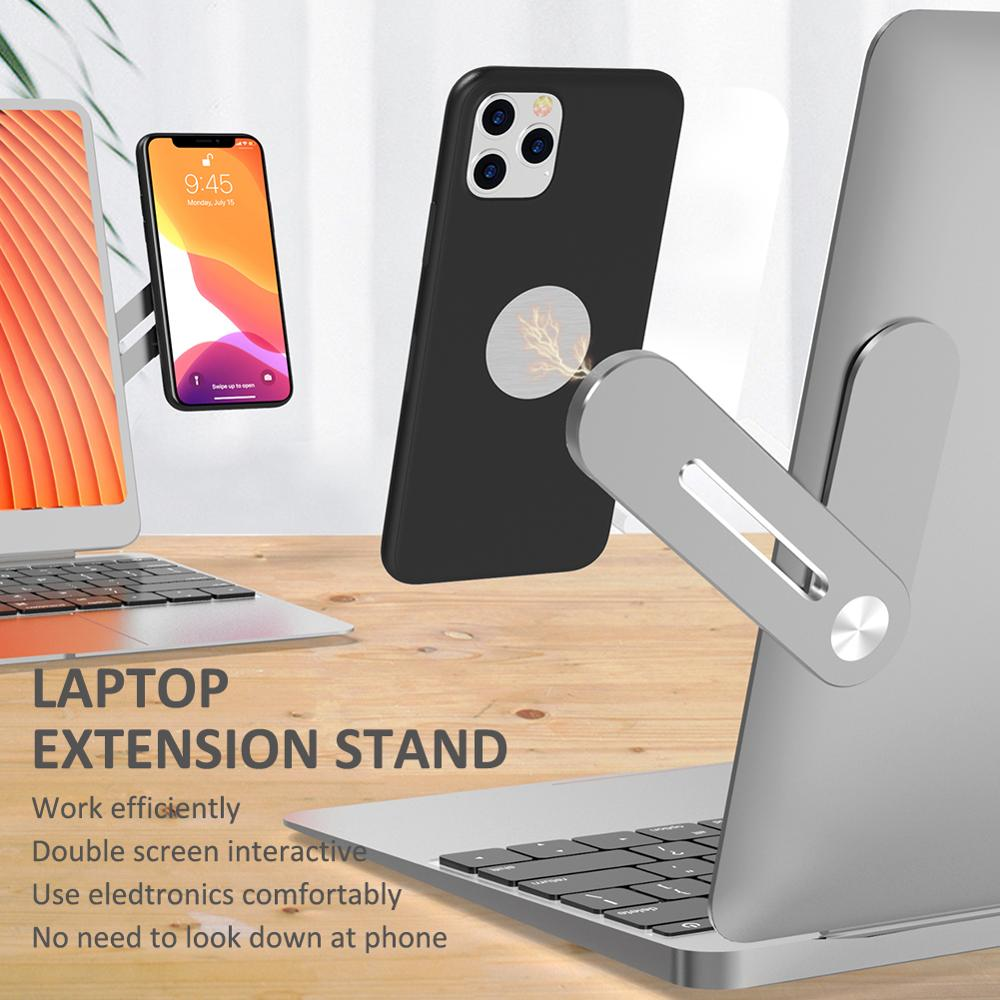 Mobile Phone Holder Magnetic Screen Laptop Side Mount Connect Dual Phone Monitor Adjustable Clip Holder Display Bracket Stand