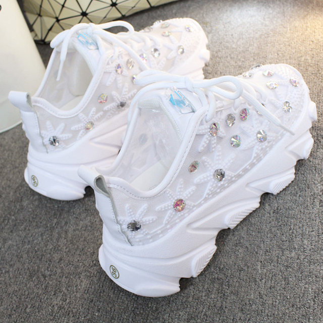 Rhinestone Wedge Sneakers Women Trainers Dames Chunky Sneaker Platform 2020 White Sneaker Casual Shoes Woman chaussures femme 2