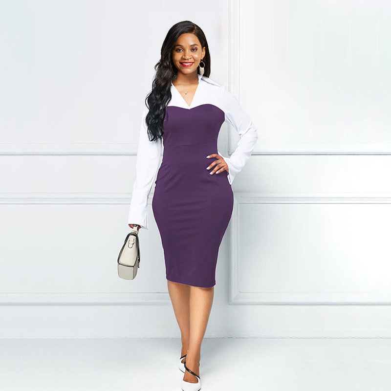 Autumn Vintage Elegant Plus Size Office Ladies Women Midi Dresses Bodycon Purple Retro Female Fashion Chic Fall 2019 Dress