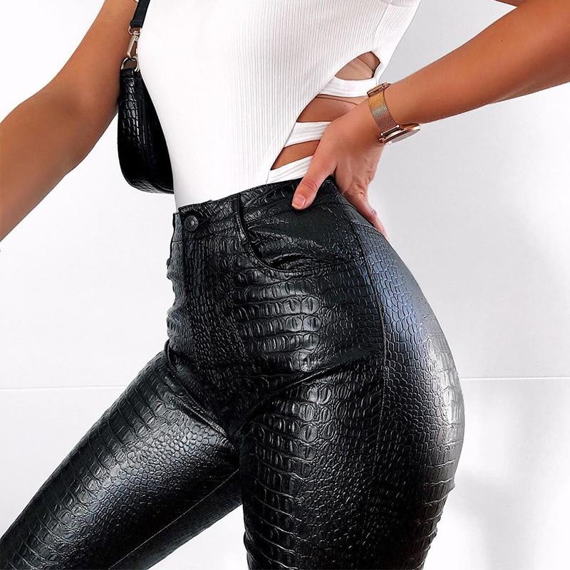 InstaHot Black High Waist Pencil Faux Leather Pants Women Casual Elegant Carving Print Ankle Length Pants Streetwear Trousers 27