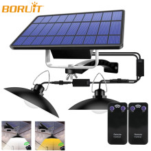 BORUiT 30W Solar Pendant Lamp Outdoor/Indoor 3M Cable Solar Powered Hanging Shed Lights with Remote Control for Shed Yard Garden