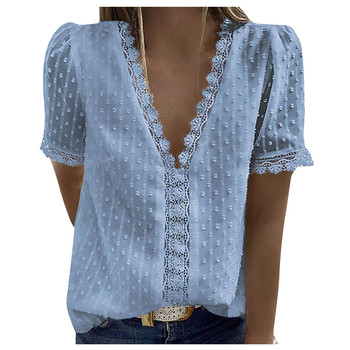 40# Elegant Blouses Women Ruffle Lace Short Sleeve Casual Tee Shirt V-neck Solid Color Vintage Pullover Top Женские Свитера 1