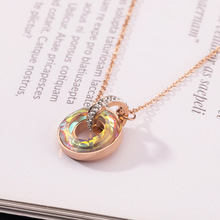 Crystal Pendant Necklace,Titanium Stainless Steel Necklace For Women,Fashion Trendy Wedding Jewelry