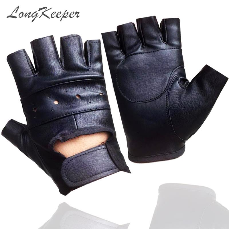 Fingerless PU Leather Driving Black Gloves for Men Half Finger Biker Sport Gloves Long Keeper