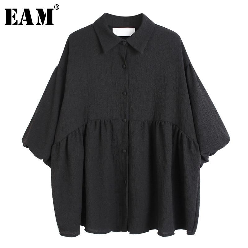 [EAM] Women Black Hem Pleated Split Blouse New Lapel Three-quarter Sleeve Loose Fit Shirt Fashion Tide Spring Summer 2020 1U397
