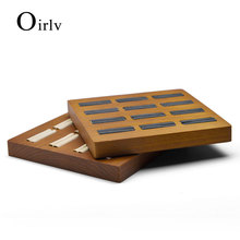 Oirlv  new beige or dark gray finger ring square woodenring finger  stand display shelf show organizer