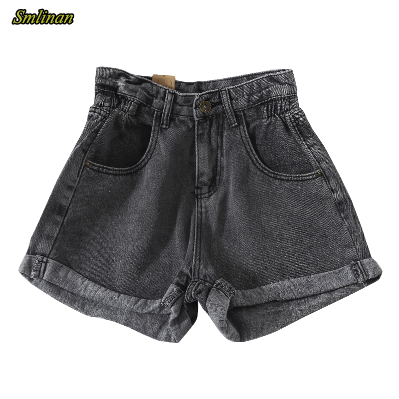 Smlinan 2020 Summer Vintage Curling Denim Shorts Women Button Zipper Pocket Elastic High Waist Jeans Short Female Hotpants