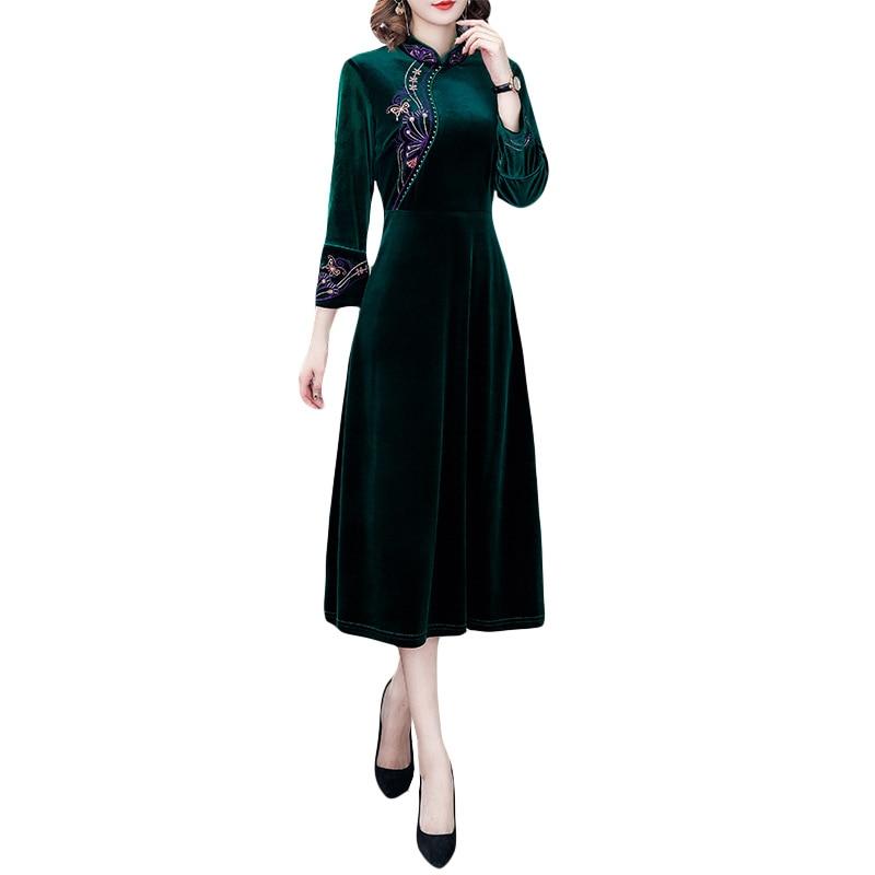 Винтажная вышитая бархатная юбка чонсам, женская теплая бархатная юбка, осень и зима 2019