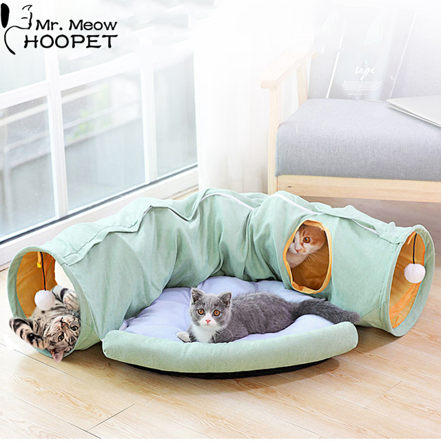 Cozy Foldable Kitten Play Tunnel & Lounger  1